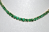 "**MBA #80-008  14k Gold Over Silver ""EDCO"" Green CZ Tennis Necklace"
