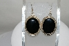 +MBA #80-0015  Sterling Oval Cut Black Onyx Earrings