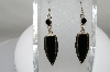 +MBA #80-109  Sterling Fancy Cut Black Onyx Earrings
