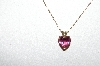"**MBA #80-182  14k Yellow Gold ""Pink Tourmaline Heart Cut"" Pendant With 18"" Gold Chain"