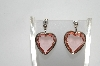 "+MBA #80-098  Sterling ""Pink Crystal Hearts"" Earrings"