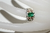 **MBA #81-222   Sterling & 12k Gold Square Cut Green Helenite Ring