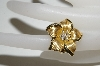 **MBA #81-212     14K Yellow Gold Flower Ring With Diamonds