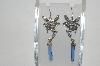 +MBA #81-229   Sterling Blue Crystal Fairy Dangle Earrings