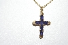 "**MBA #81-267  14k Yellow Gold Purple Iolite Square Cut Gemstone Cross Pendant With 18"" Chain"