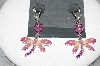 "Designer Carol Dauplaise ""Silver Tone Pink Dragonfly Earrings"""