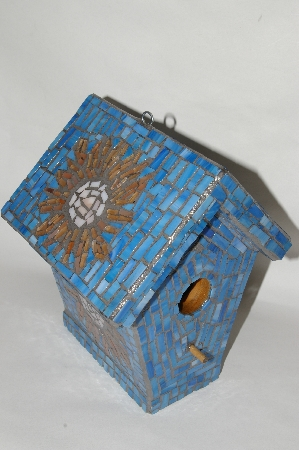 One Of A Kind Hand Made Blue Stain Glass Mosaic Bird House