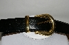 Black Leather Belt With Gold Tone Buckle