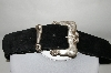 Made In The USA Black Suede Belt With Silver Tone Antiqued Buckle