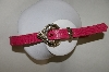 Pink Leather Snake Skin Pattern Belt With Silver Tone Buckle