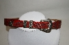Made In The USA Red Leather Hand Tooled belt