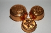 Set Of 3 Vintage Round Copper Jello Molds