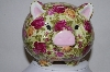 **MBA #82-024  Beautiful Rose Covered Ceramic Piggy Bank