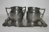 **Vintage Pewter Cream, Sugar & Tray Set
