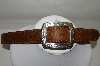 Justin Tan Stitch Leather Belt With Silver Plated Buckle
