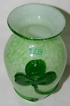 "+MBA #82-074  ""Made In Ireland Green Opaque Glass Shamrock Vase"