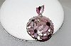 **MBA #84-131  Sterling Pink & Black Shell Hand Inlayed Floral Pendant