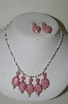 **MBA #84-065   Sterling Pink Gemstone Necklace & Earring Set