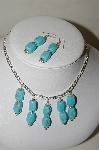 **MBA #84-194   Sterling Blue Turquoise Bead Necklace & Earring Set