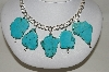 **MBA #84-057   Sterling Chunky Blue Turquoise Necklace