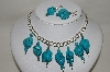 **MBA #84-097   Sterling Large Blue Turquoise Nuggett Necklace & Earring Set