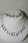 **MBA #84-199  Sterling Moss Agate Necklace & Hoop Earring Set
