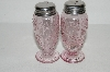** Set Of Fancy Pink Glass 2005 Salt & Pepper Shakers