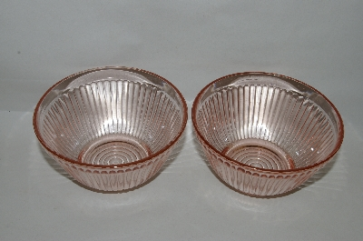 **Set Of 2 Pink Depression Glass Berry Bowls