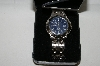 "*MBA #85-102    Genevex ""Blue Face"" Men's Stainless Steel Watch"