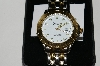 "*MBA #85-096   Genevex Men's ""White Face"" Stainless Steel & Gold Tone Watch"