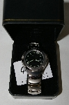 "*MBA #85-103  "" Genevex Men's ""Black Face"" Stainless Steel Watch"