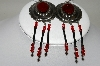 "+MBA #86-008  Antiqued Silver ""Red"" Concho Earrings"