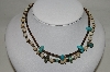 **MBA #85-123   Set Of 2 1970's Shell  & Blue Turquoise Hand Made Necklaces