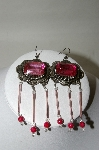 "+MBA #86-013  Antiqued Gold Tone Concho ""Pink"" Dangle Earrings"