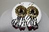 +MBA #86-001  Gold Tone Black, Pink & Clear Concho Earrings