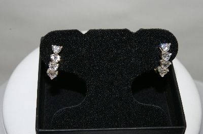 +MBA #85-251  Sterling White CZ Heart Earrings