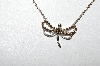 **MBA #86-068  14K White Gold  Champagne & White Diamond Dragonfly Necklace