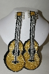 **Set Of 2 Gold, Black & Silver Beaded Guitar Appliques