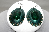 """SOLD""    MBA #89-093 Green Enameled & Gold Crystal Concho Earrings"