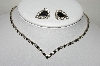 Vintage Black & White Crystal Rhinestone Necklace & Matching Earrings