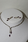 **MBA #87-166   Vintage Purple & White Crystal Rhinestone Necklace & Earring Set