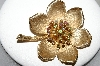 **MBA #87-300  Vintage Gold Tone Large Flower Brooch With Multi Colored Rhinestones