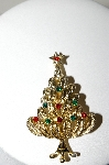 **MBA #87-361   OBEA Gold Tone Rhinestone Christmas Tree Brooch