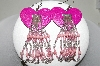 Pink Enameled Heart Shaped Concho & Hand Beaded Earrings