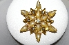 +MBA #87-326   Vintage Goldtone Yellow Glass & AB Crystal Star Brooch