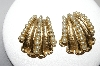 **MBA #87-287  Napier Large Goldtone Glass Pearl Clip On Earrings