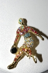 +MBA #87-381  Vintage Gold Tone Rhinestone Bowlers Pin
