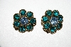 Lisner Blue & Green Rhinestone Clip On Earrings