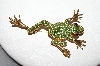 +MBA #87-330   Vintage Gold Plated Green Crystal Frog Pin