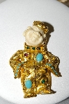 **MBA #87-304  Dag Made In Spain Gold Plated Ivory Oriental Look Pendant